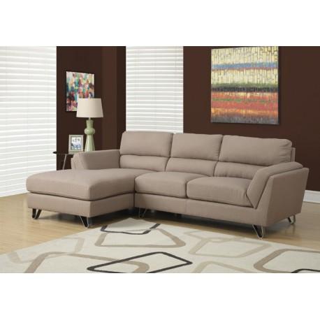 Canapé d angle fixe Tissu marron clair Espace Decormat