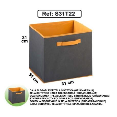 Casier en toile synthétique - Gris/Orange