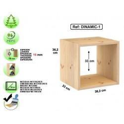 Étagère 1 cube en pin massif - DINAMIC-1