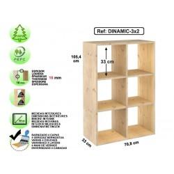 Étagère 3x2 cubes en pin massif - DINAMIC-3x2