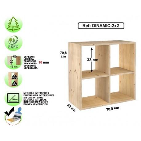 Étagère 2x2 cubes en pin massif - DINAMIC-2x2