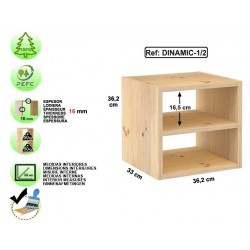 Étagère 1 cube avec tablette en pin massif - DINAMIC-1/2