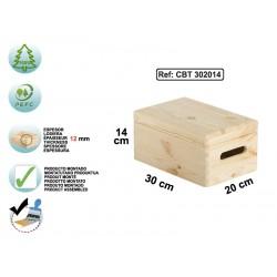 Caisse avec couvercle en pin massif 30x20x14