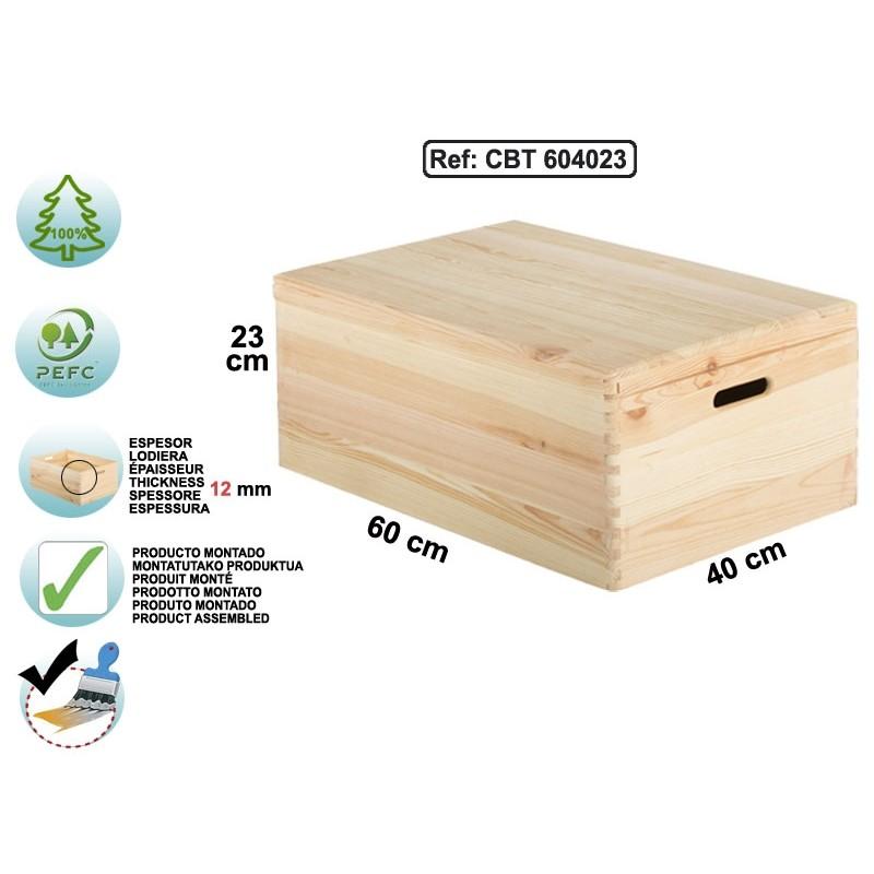 caisse avec couvercle en pin massif 60x40x23 espace decormat. Black Bedroom Furniture Sets. Home Design Ideas