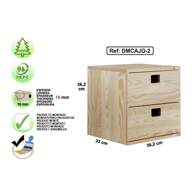 bloc 2 tiroirs en pin massif dmcajo 2 espace decormat. Black Bedroom Furniture Sets. Home Design Ideas