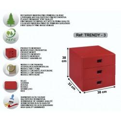 Bloc 3 tiroirs verni rouge - TRENDY-3