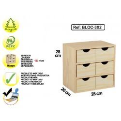 Bloc 3x2 tiroirs en pin - BLOC-3x2