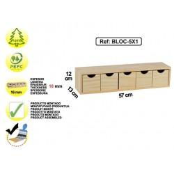 Bloc 5 tiroirs en pin - BLOC-5x1